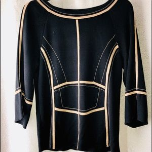 Ellen Tracy silk blend Black and Tan blouse M